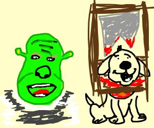 shrek kills his dog in a saw trap OwO
