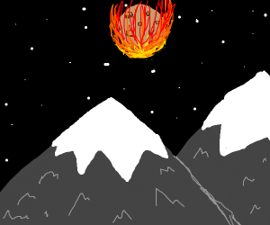 An asteroid above mountains