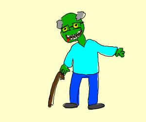 Zombie grandpa is happy