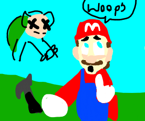 mario touch the hammer and kills bowser