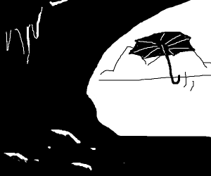 a umbrella floating into a cave