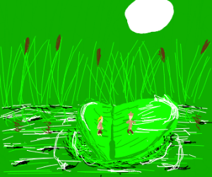 Shrunken explorers on huge lily pad