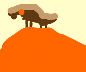a horse standing on a giant orange
