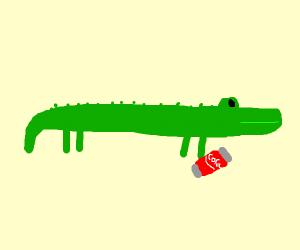 aligator with coca cola