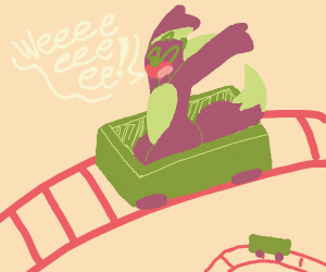 Happy person on a roller coaster