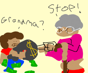 Grandma yelling at her grandkids for stealing