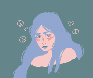 Blue haired hippie blushes