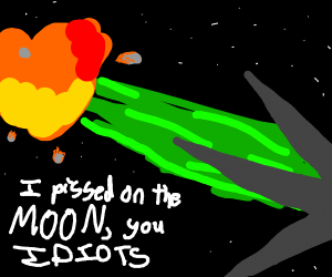 space ship has to take a piss on moon