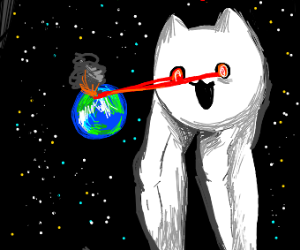 Muscle Leg Cat destroys Earth with laser eyes