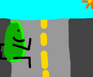 a pickle crossing the road