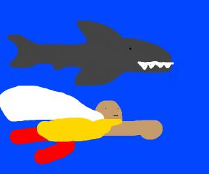 super hero under shark