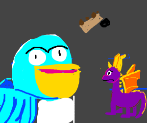 Spyro watches as blue bird commits suicide
