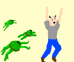 A man getting chased by angry frogs