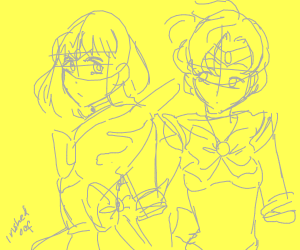 Sailor Saturn and Sailor Mercury