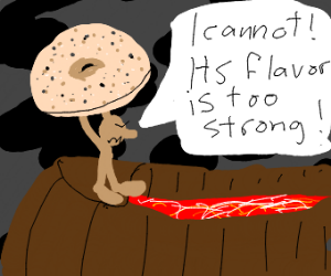 Frodo can't drop the bagel into the volcano