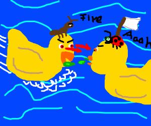 battle of the cartoon ducks