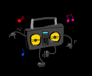 boom box dances to it's own beat