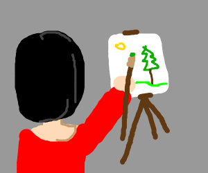 A woman painting a picture