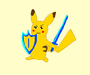 pikachu holding a sword and a shield