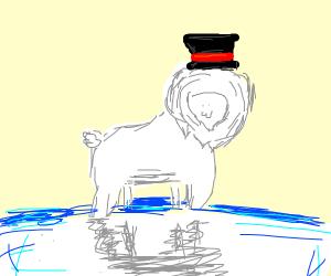 Lion polar bear wearing a hat