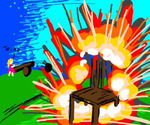 little girl blowing up a chair with a cannon