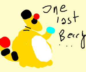 Ampharos about to eat a berry