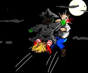 Guy getting hit by a witch on her broom