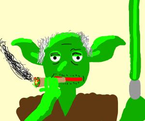 Yoda smoking weed