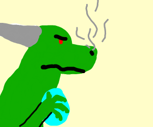 Angry dragon protects egg