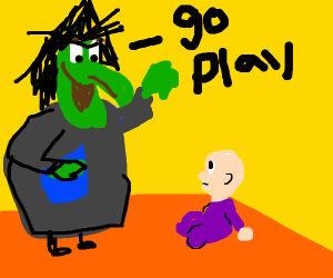 evil witch telling child to go play