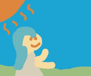 blue haired girl getting fresh air