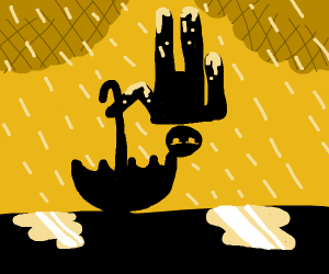Upside down man is rained on