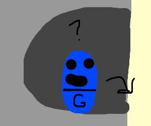 A blue minion stuck in a cave