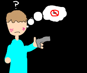 Eyeless dude tries to look at gun in hand.