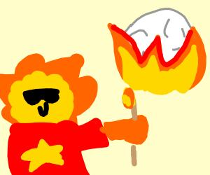 Sunglasses man burns the moon