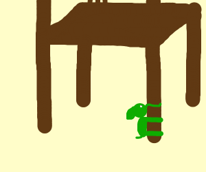 Tiny green elephant hugging a chair
