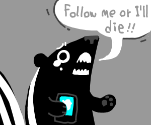 skunk begs people to follow him on twitter