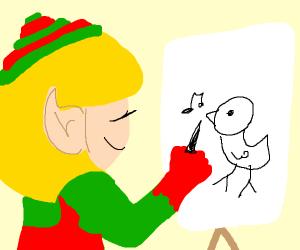 Santa's elf drawing a crappy bird