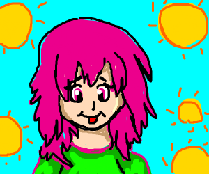 Pink haired girl with suns around her