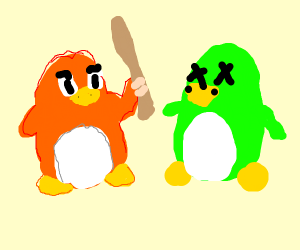 Two penguins from club penguin fighting