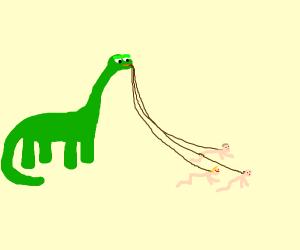 Dino walking his pet humans