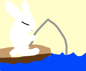Bunny fishing in a rowboat