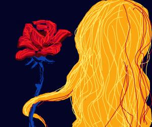 Blonde wig holding a rose