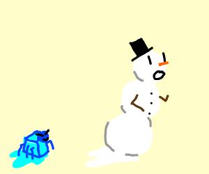 Blue spider-iceman chasing snowman