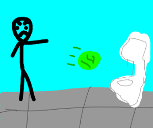 Guys throws lettuce in toilet and cusses