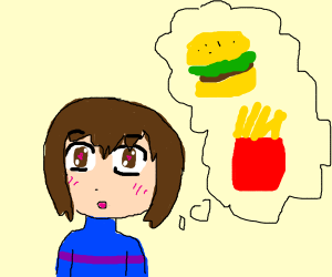 A fat Frisk thinking about a Hamuburger