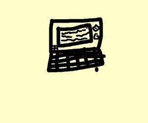 Laptop with Screenshot showing Report classte