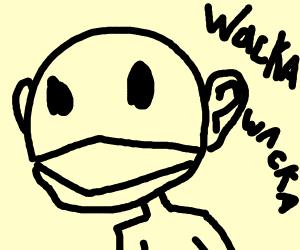Human Pac man speaking gibberish