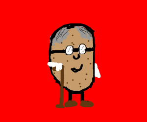 old potato with glasses