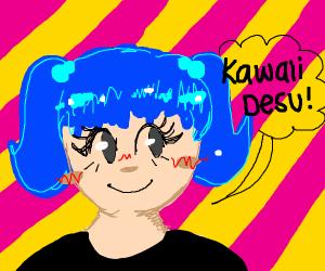 blue hair anime gurl
